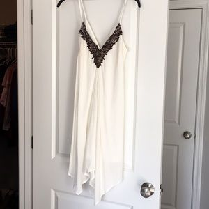 White VENUS summer dress with brown embellishment